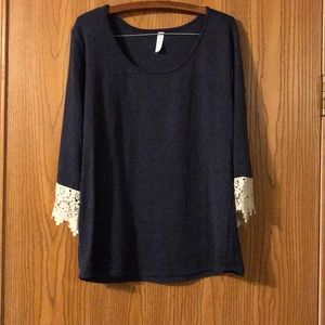 Blue Note Navy 3/4 Sleeve Sweater, 2X